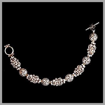 Sterling Silver Traditional Bali Bracelet with hinged scroll-work design